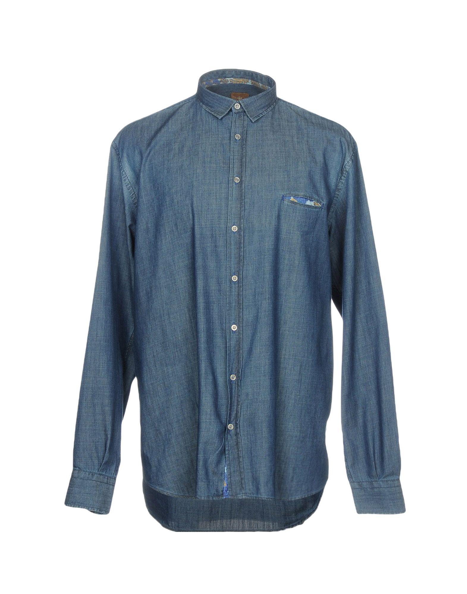 《セール開催中》JEY COLE MAN メンズ デニムシャツ ブルー 44 コットン 100%