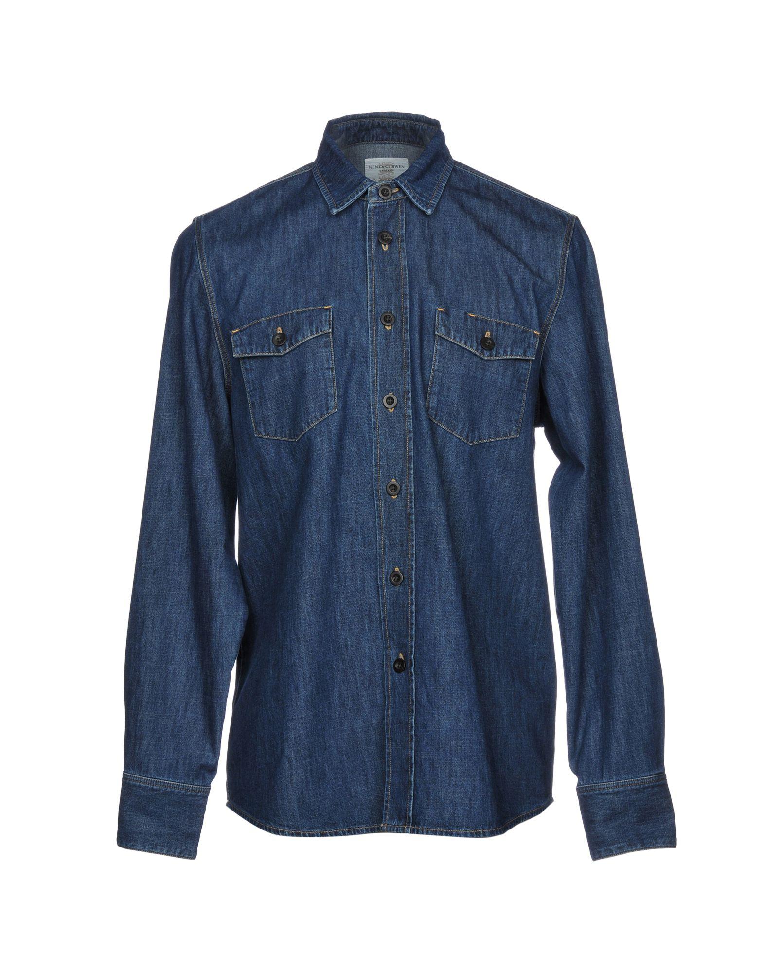 《セール開催中》KENT & CURWEN メンズ デニムシャツ ブルー S コットン 100%