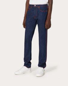 VLTN 5-pocket jeans with stitching and VLTN detail