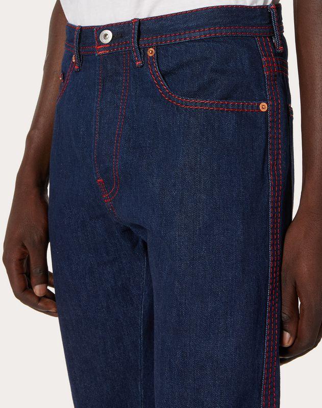 """5 Pocket Jeans mit Steppnähten und """"VLTN"""" Print"""