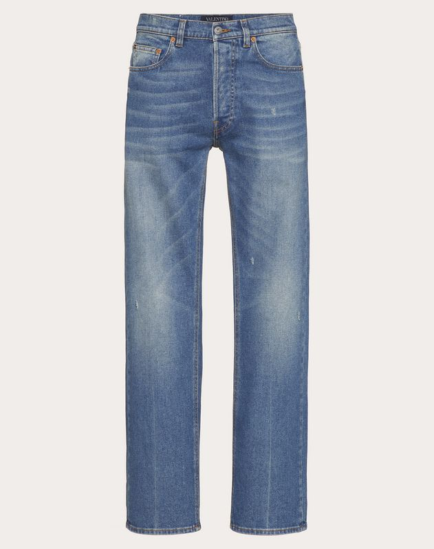 Straight fit 5-pocket jeans with rips