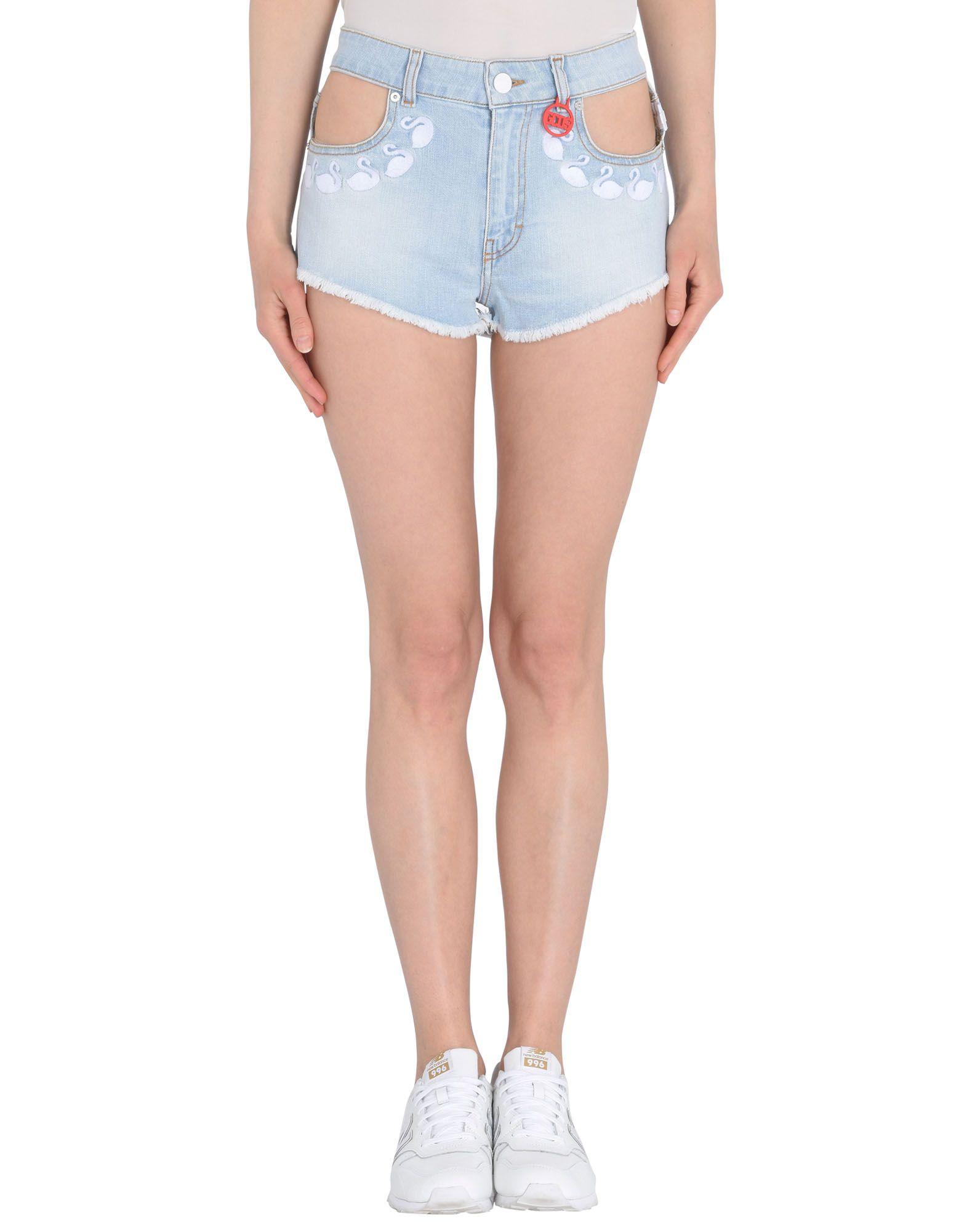 GCDS Denim shorts. denim, embroidered detailing, logo, basic solid color, light wash, mid rise, front closure, button, zip, multipockets, fringed hem, stretch. 98% Cotton, 2% Elastane