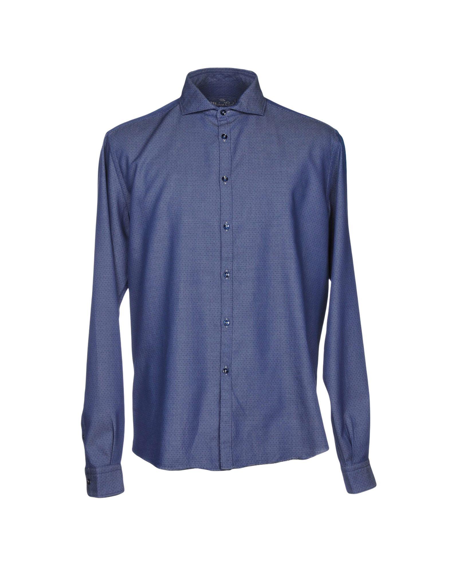 MICHAEL COAL Джинсовая рубашка рубашка в мелкий горошек
