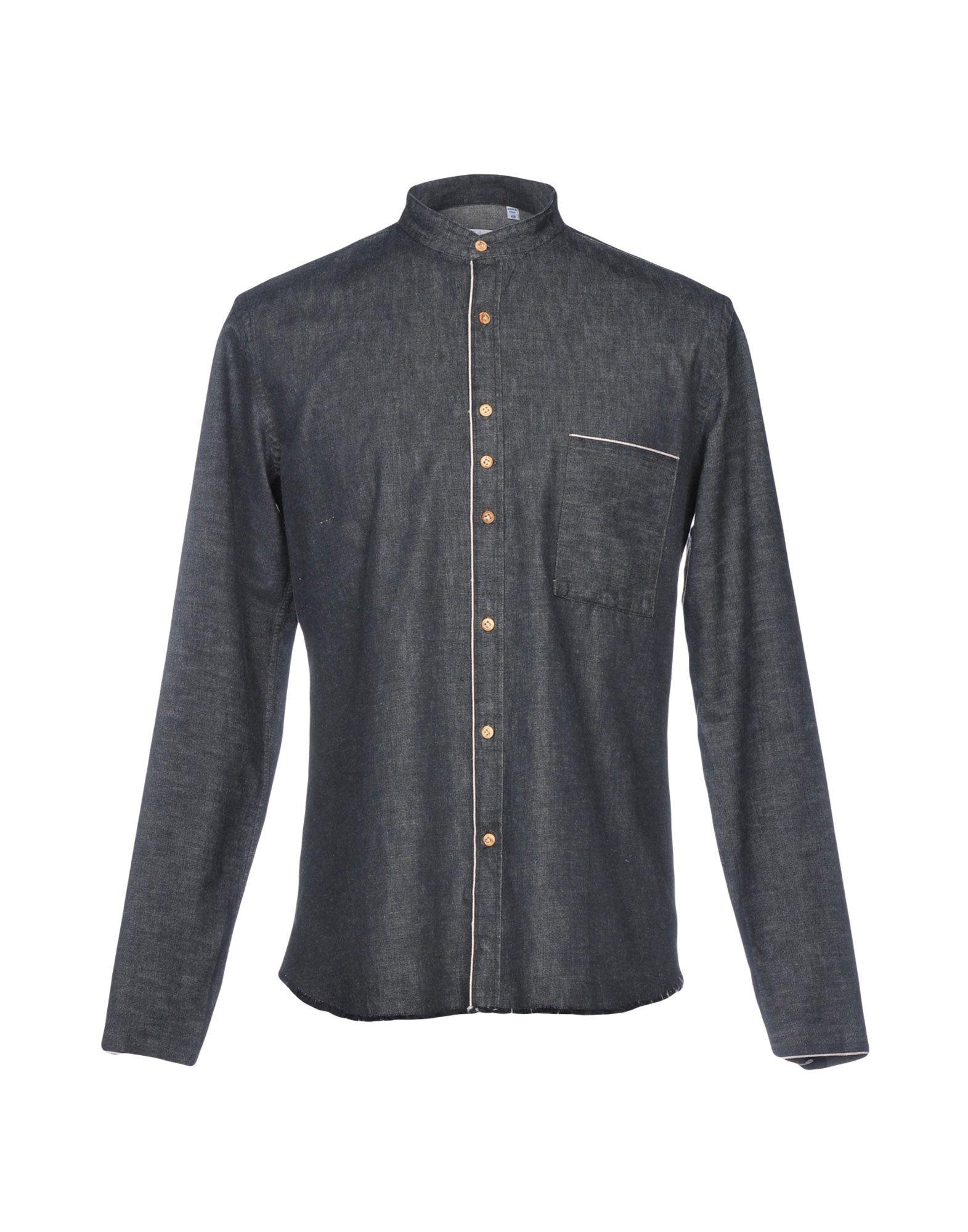 《送料無料》COSTUMEIN メンズ デニムシャツ ブラック 48 コットン 100%