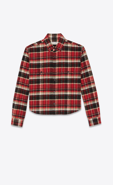 SAINT LAURENT Casual Shirts Woman Cropped checked shirt in red and black flannel a_V4