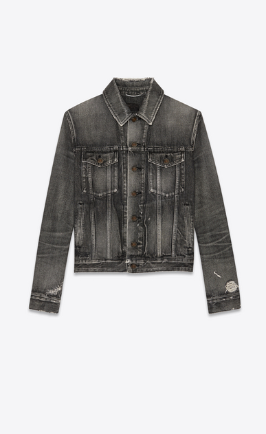 SAINT LAURENT Denim jackets Man Jeans jacket in faded black denim a_V4