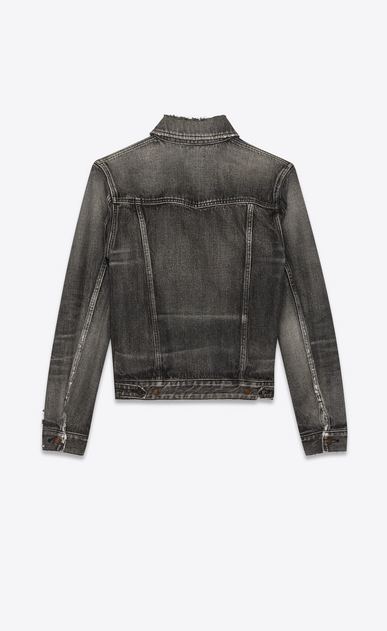 SAINT LAURENT Denim jackets Man Jeans jacket in faded black denim b_V4