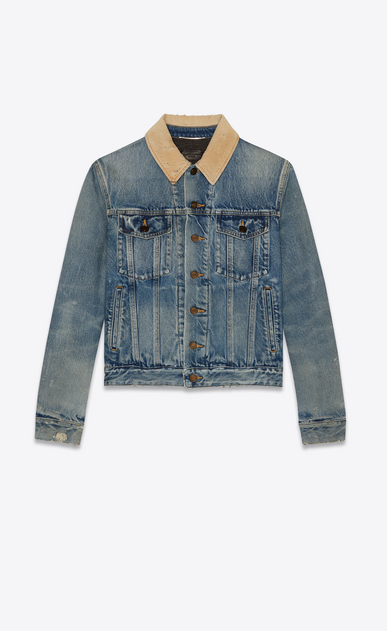 SAINT LAURENT Denim jackets Man Blue denim and corduroy jacket a_V4