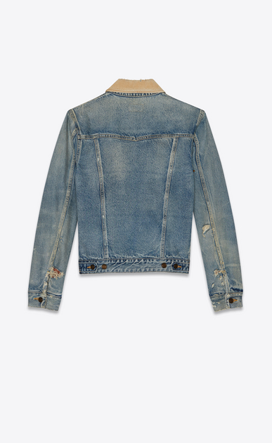SAINT LAURENT Denim jackets Man Blue denim and corduroy jacket b_V4