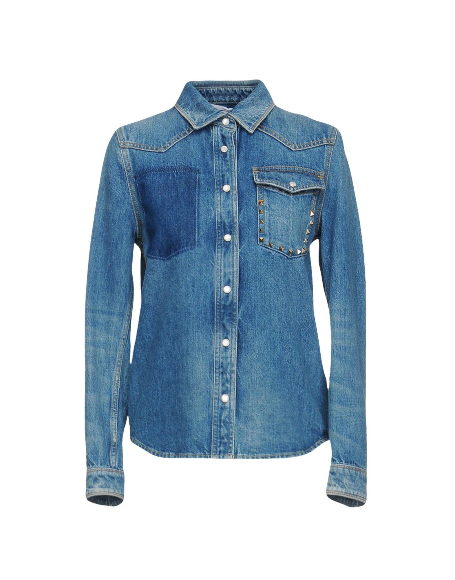 VALENTINO Джинсовая рубашка red valentino джинсовая крутка с кристаллами и аппликациями