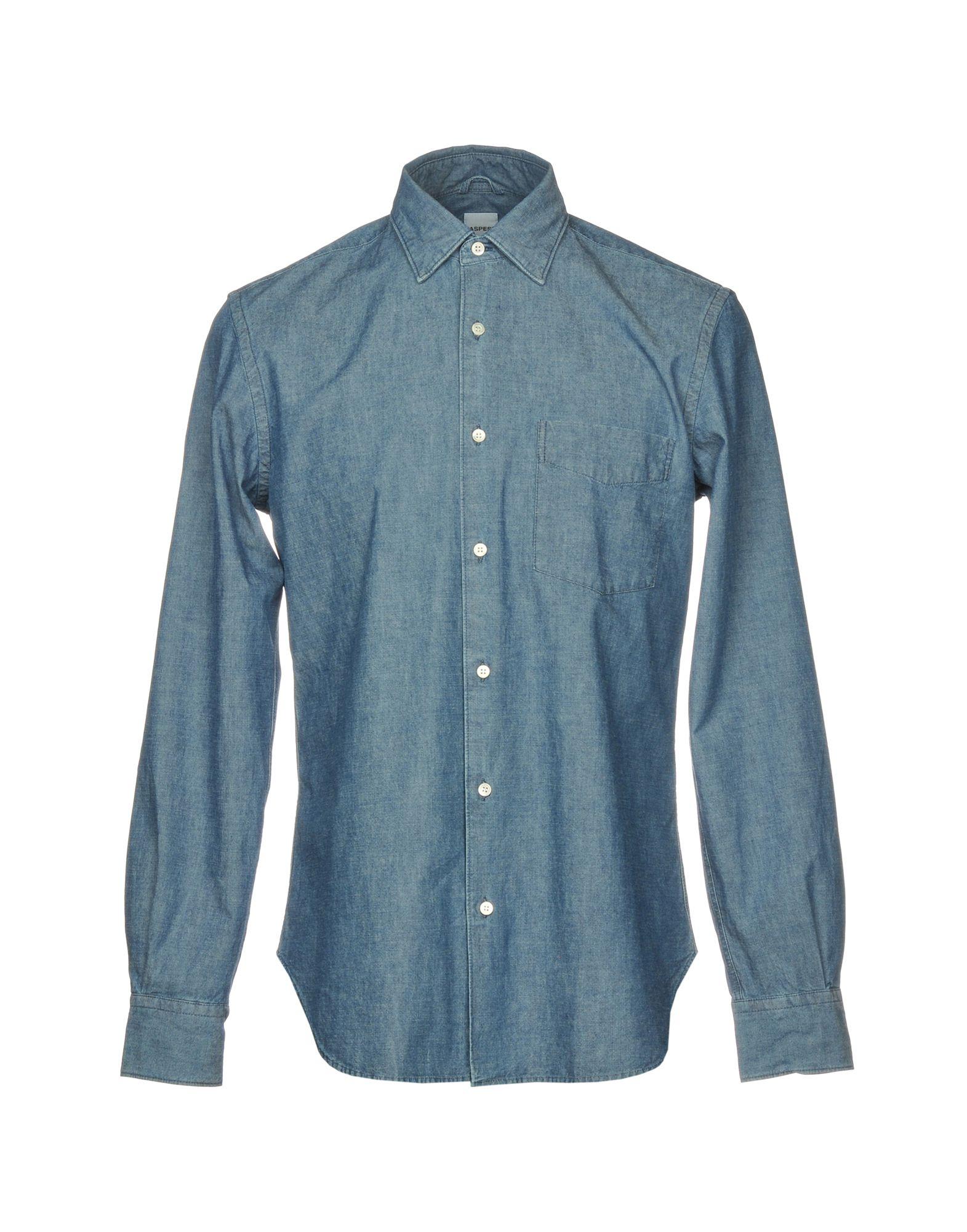 《送料無料》ASPESI メンズ デニムシャツ ブルー 40 コットン 100%