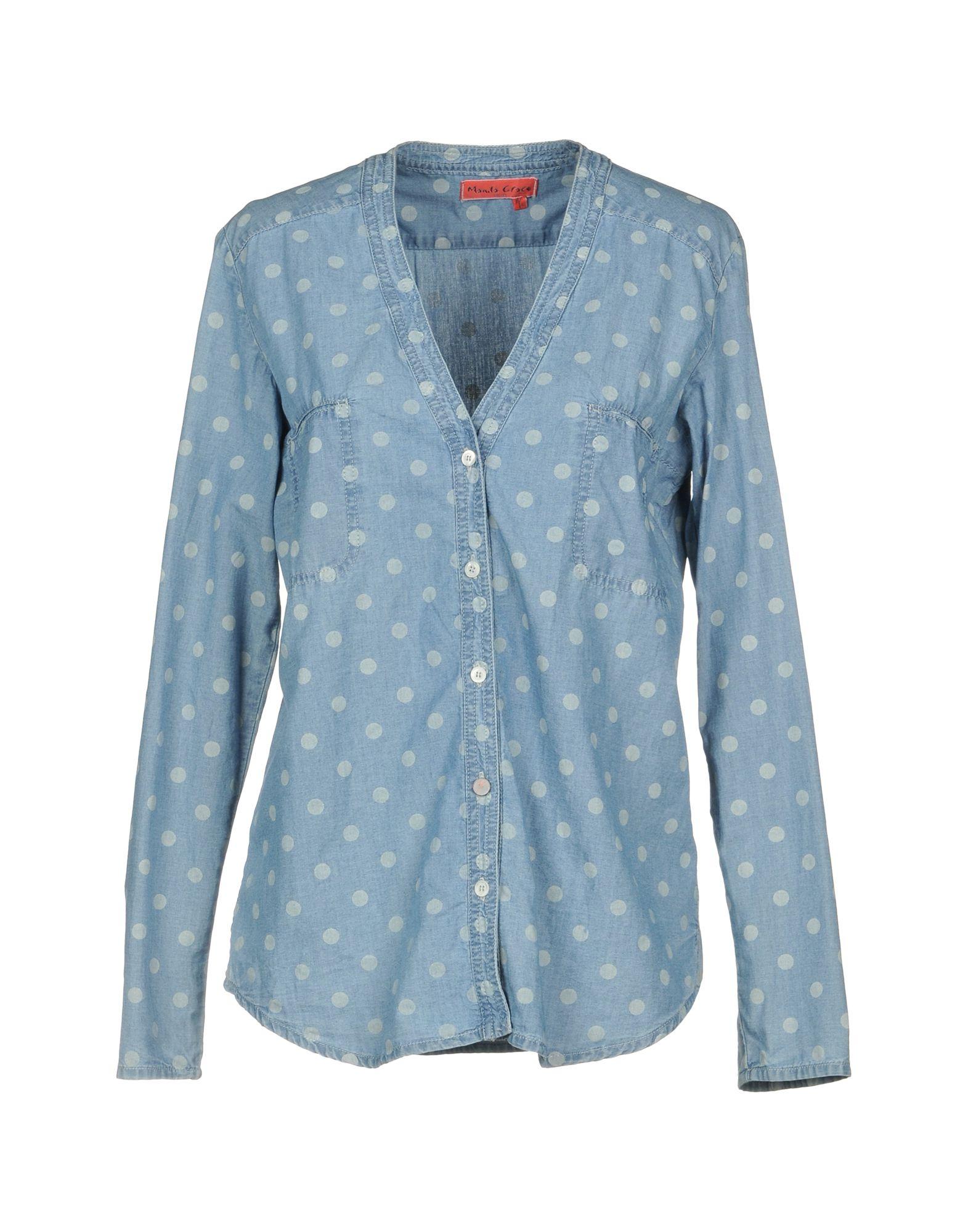 MANILA GRACE DENIM Джинсовая рубашка цены онлайн