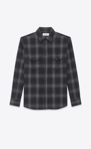SAINT LAURENT Denim shirts Woman Oversized checked shirt a_V4