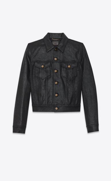 SAINT LAURENT Denim jackets Woman Coated denim jacket a_V4