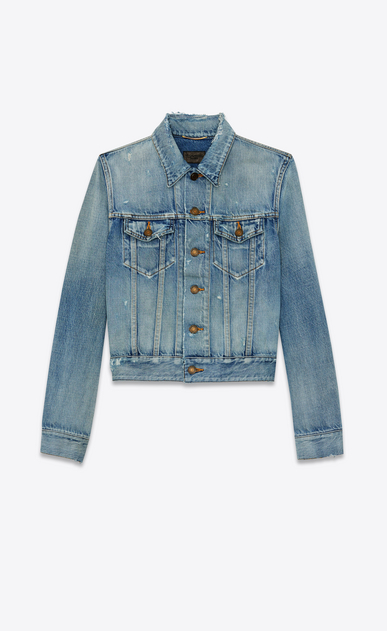 SAINT LAURENT Denim jackets Woman destroyed denim jacket a_V4