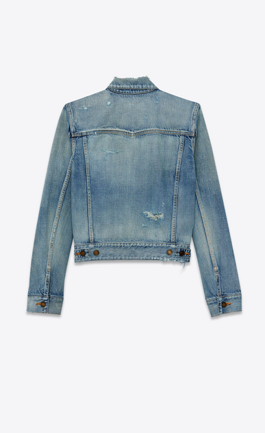 SAINT LAURENT Denim jackets Woman destroyed denim jacket b_V4