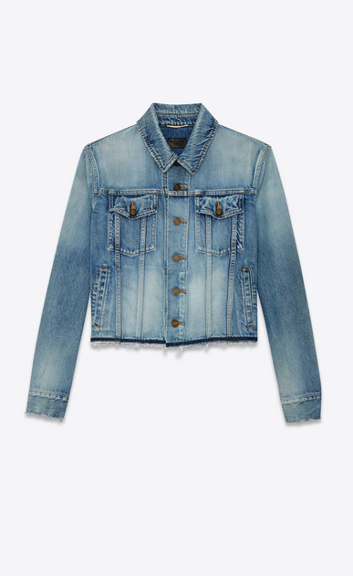 SAINT LAURENT Denim jackets Woman raw hem denim jacket a_V4