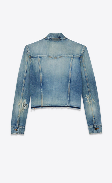 SAINT LAURENT Denim jackets Woman raw hem denim jacket b_V4
