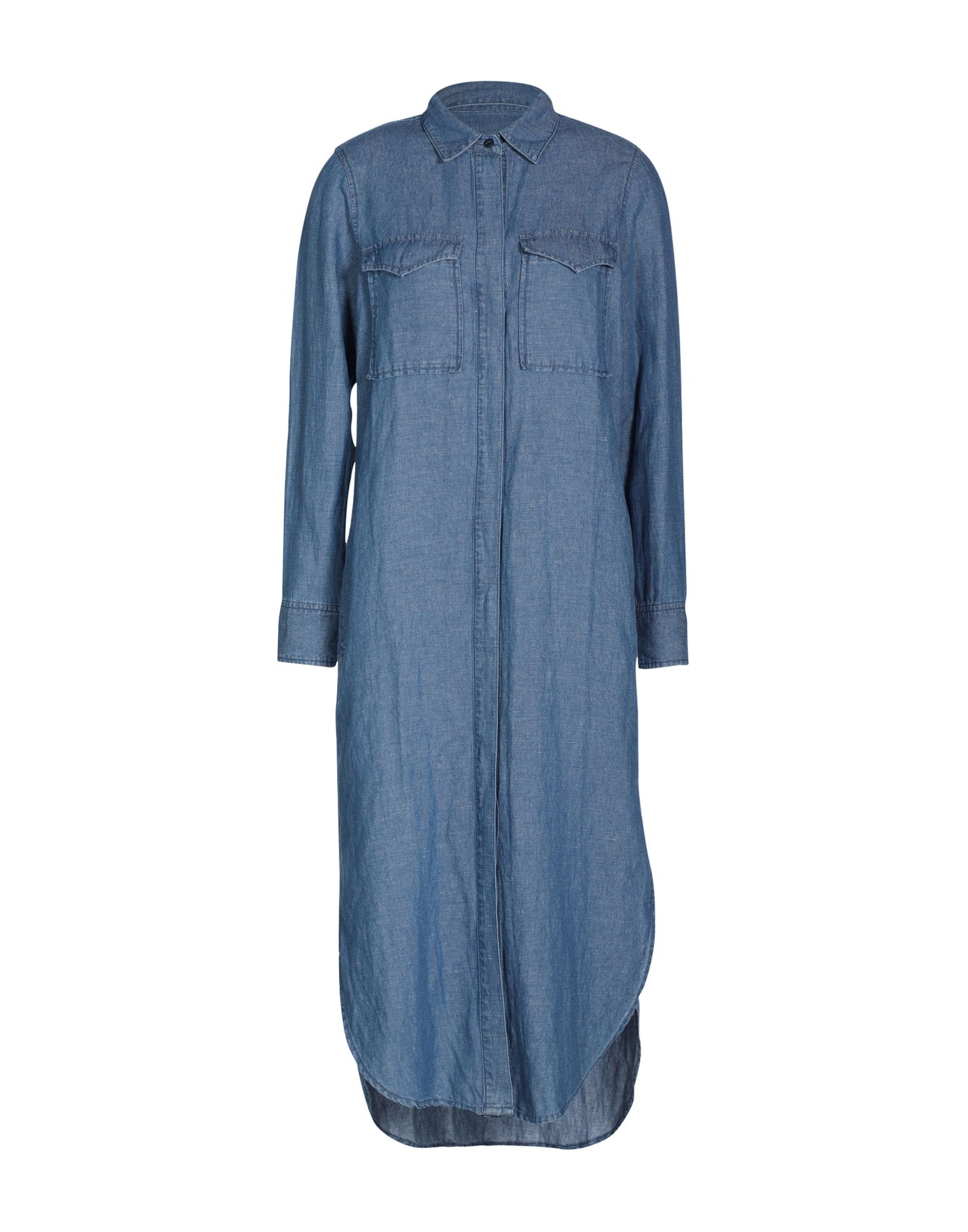 MADEWELL Knee-length dresses. denim, classic neckline, unlined, basic solid color, long sleeves, dress. 60% Cotton, 40% Linen