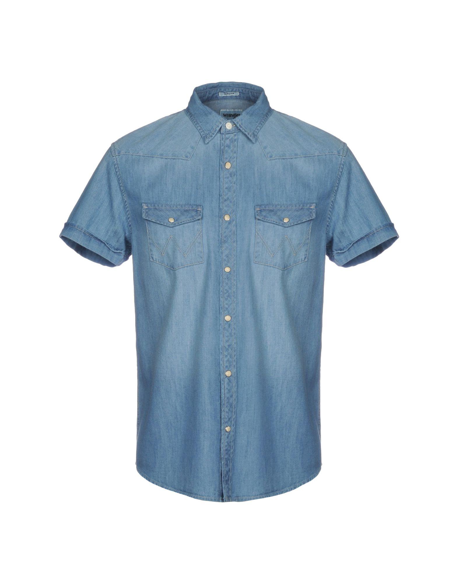 《セール開催中》WRANGLER メンズ デニムシャツ ブルー S コットン 100%