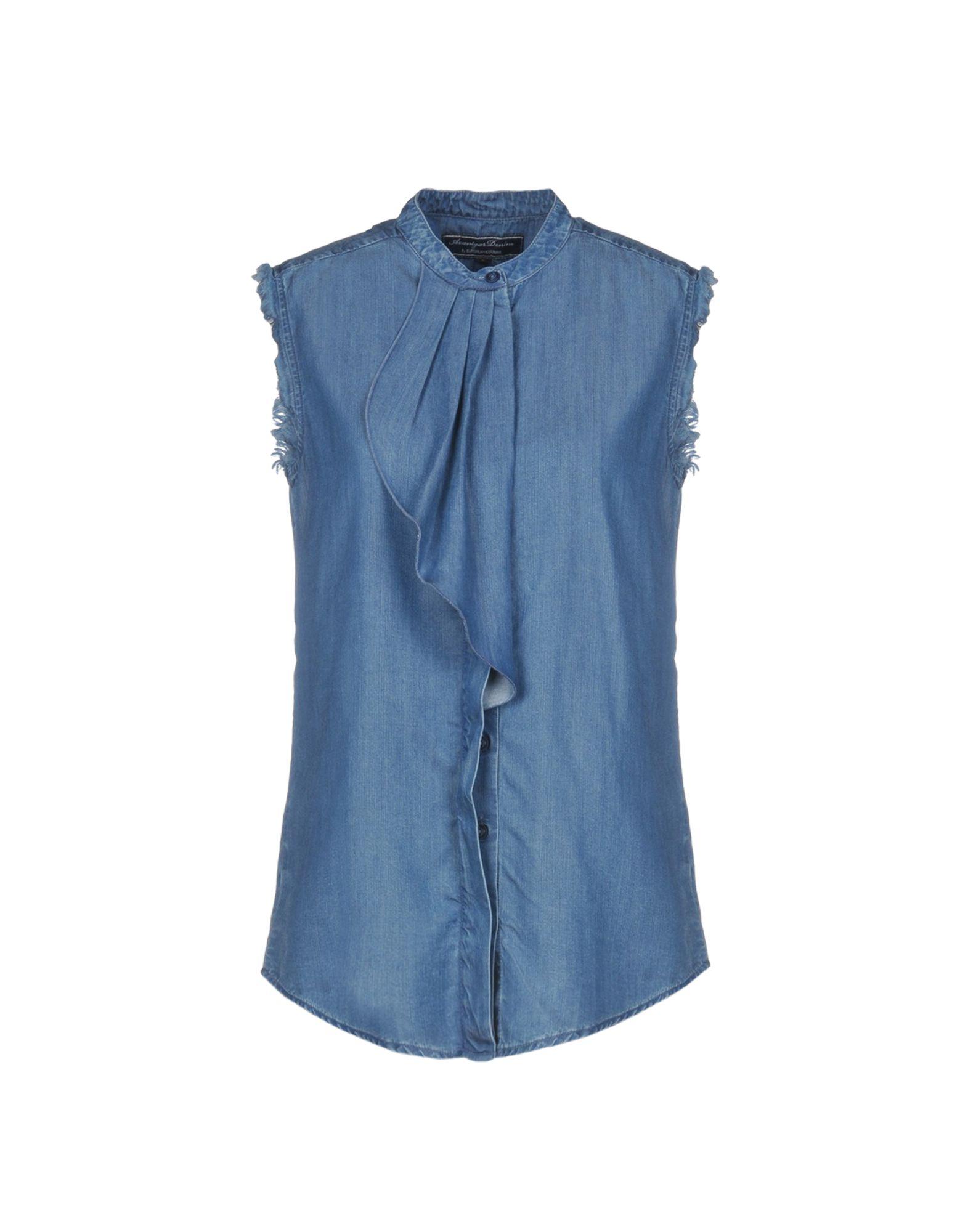 AVANTGAR DENIM by EUROPEAN CULTURE Джинсовая рубашка женская рубашка european and american big c002617 2015