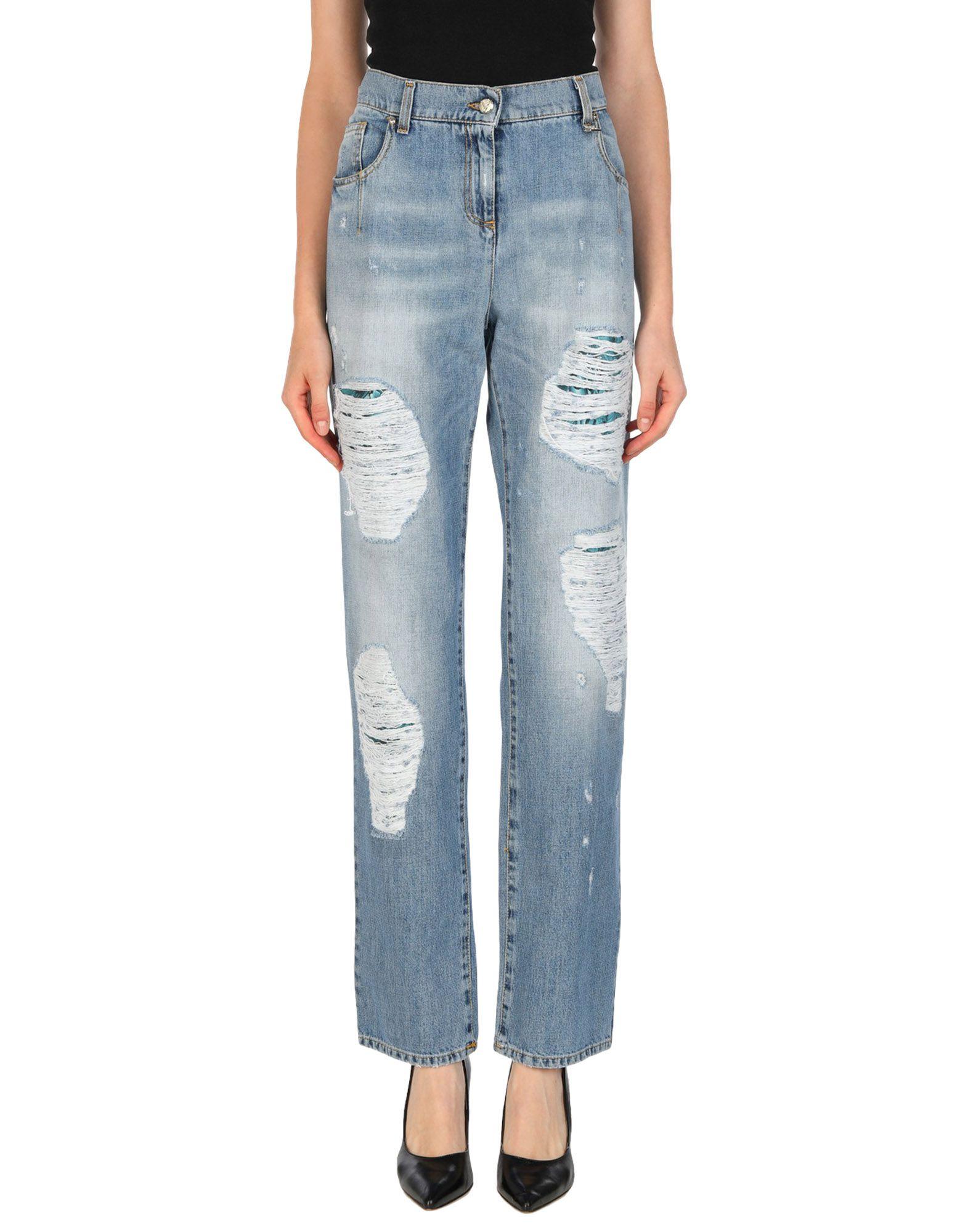 VERSACE JEANS Джинсовые брюки high waist blue cool denim jeans women summer skinny boyfriend hole ripped femme pencil pants fashion female long trousers 40 f