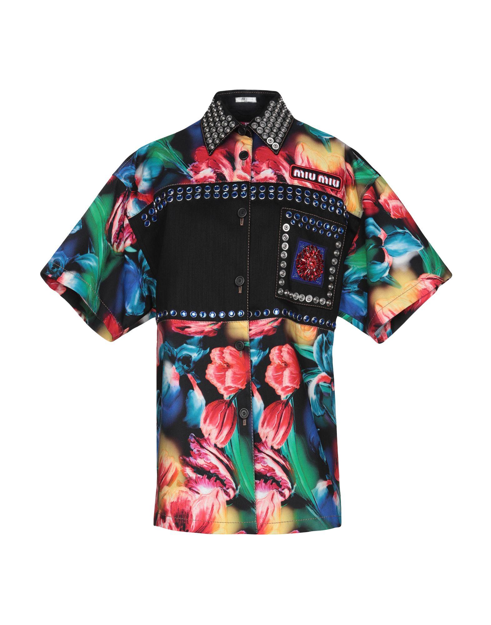 MIU MIU Джинсовая рубашка miu miu черный шерстяной кардиган