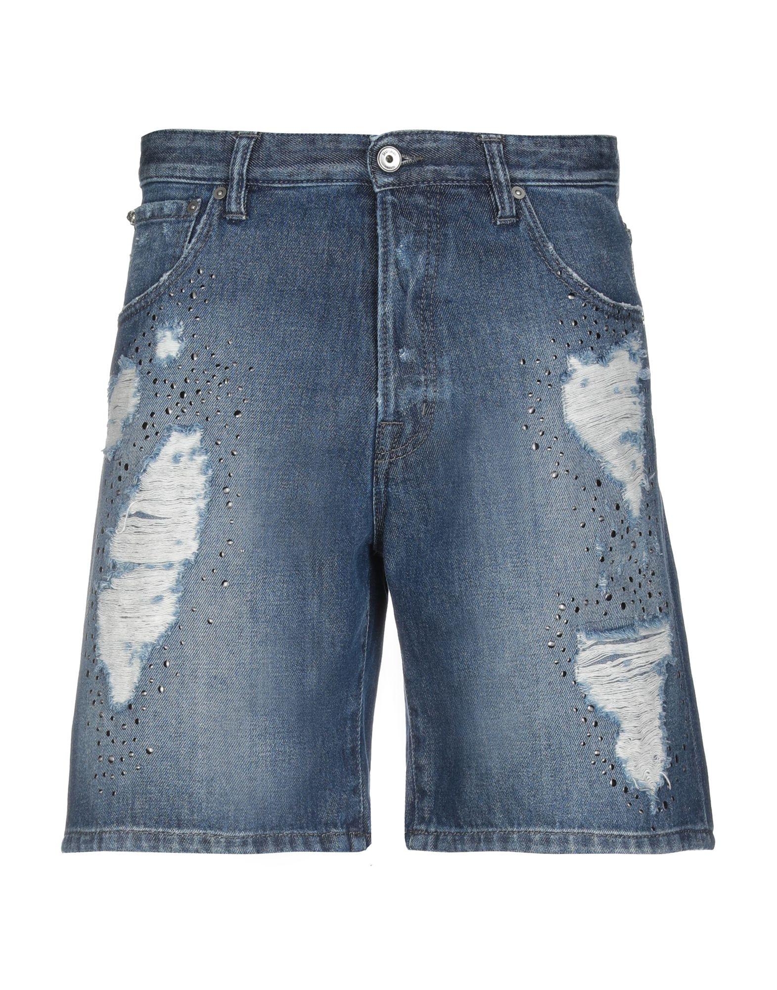 《期間限定セール中》JUST CAVALLI メンズ デニムバミューダパンツ ブルー 32 コットン 100%