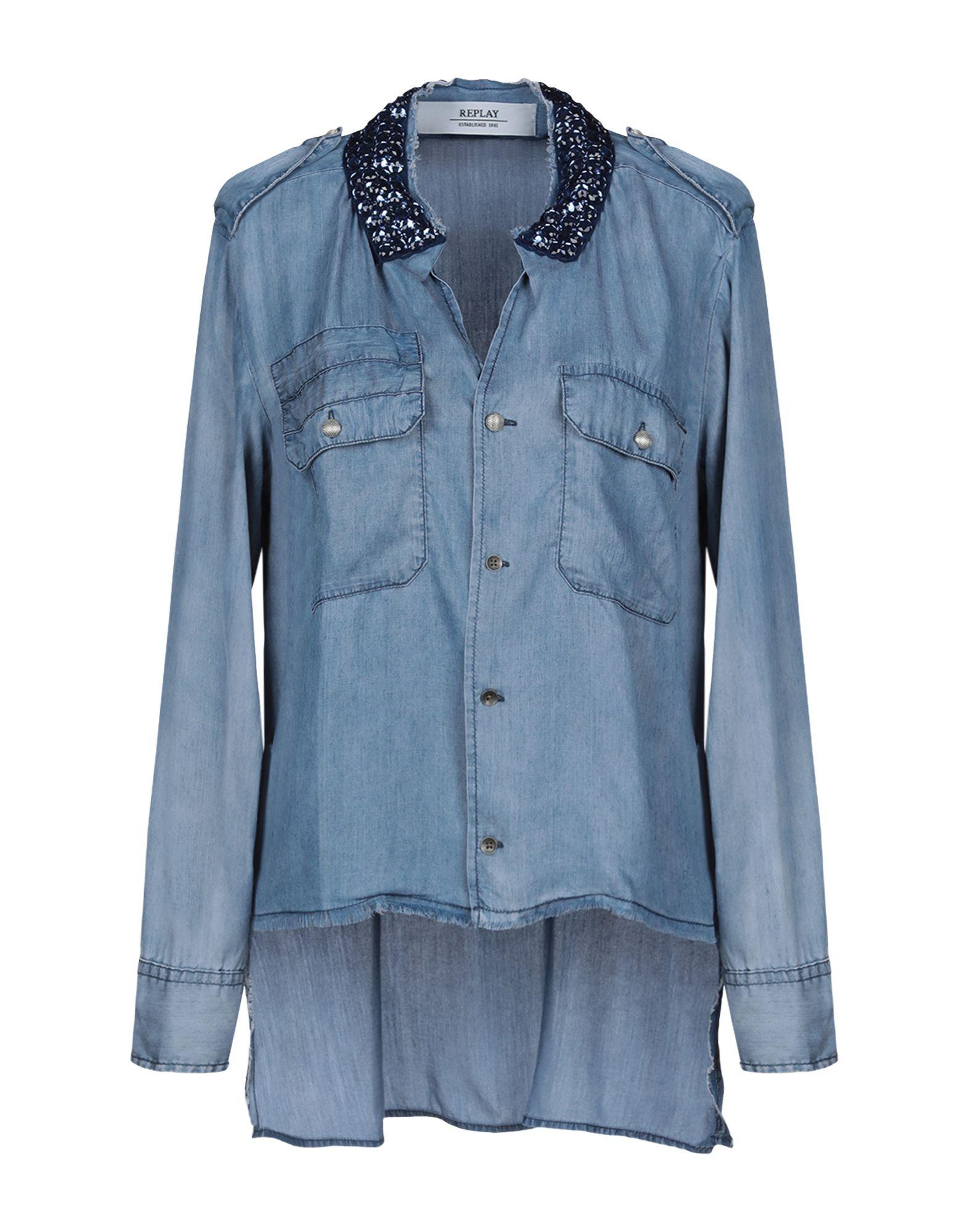 REPLAY Джинсовая рубашка юбка джинсовая replay replay re770ewkjl41