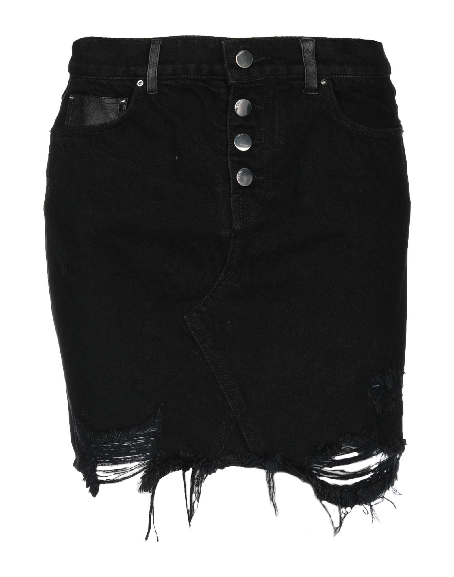 《セール開催中》AMIRI レディース デニムスカート ブラック 2 コットン 100% / 革