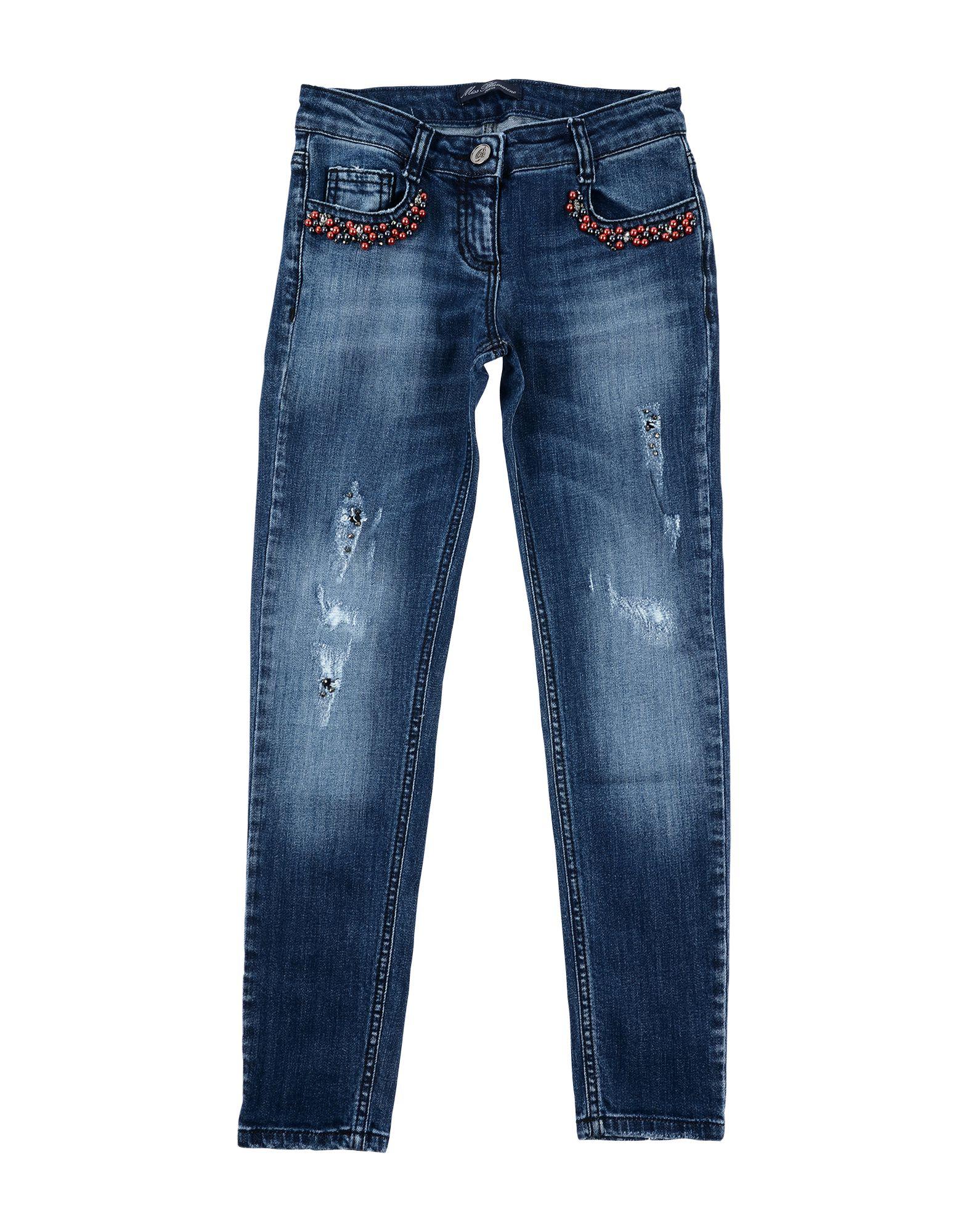 MISS BLUMARINE Джинсовые брюки брюки текстильные джинсовые для девочек 110 362011 синий деним ean 4690244736511