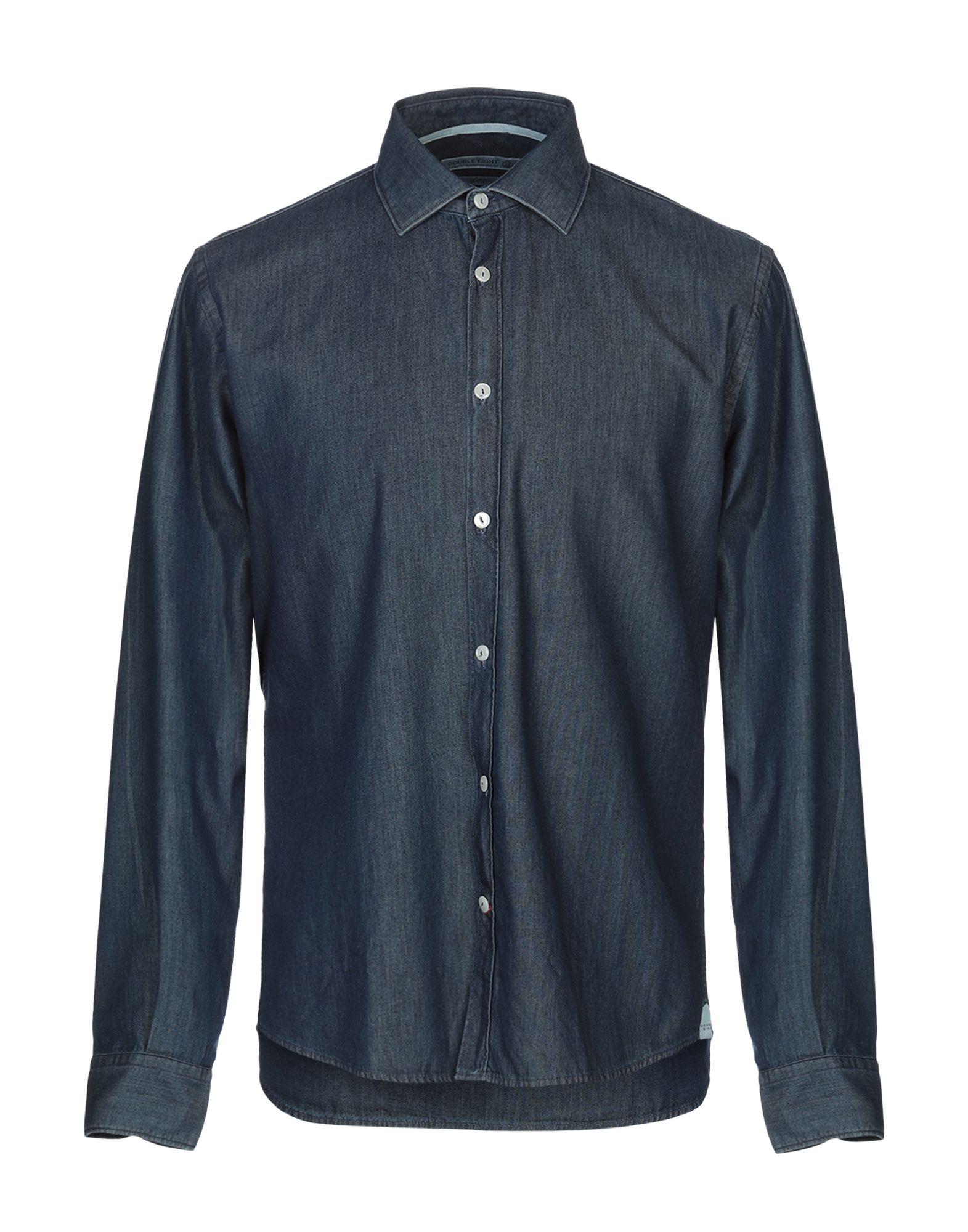 《期間限定セール開催中!》DOUBLE EIGHT メンズ デニムシャツ ブルー M コットン 100%