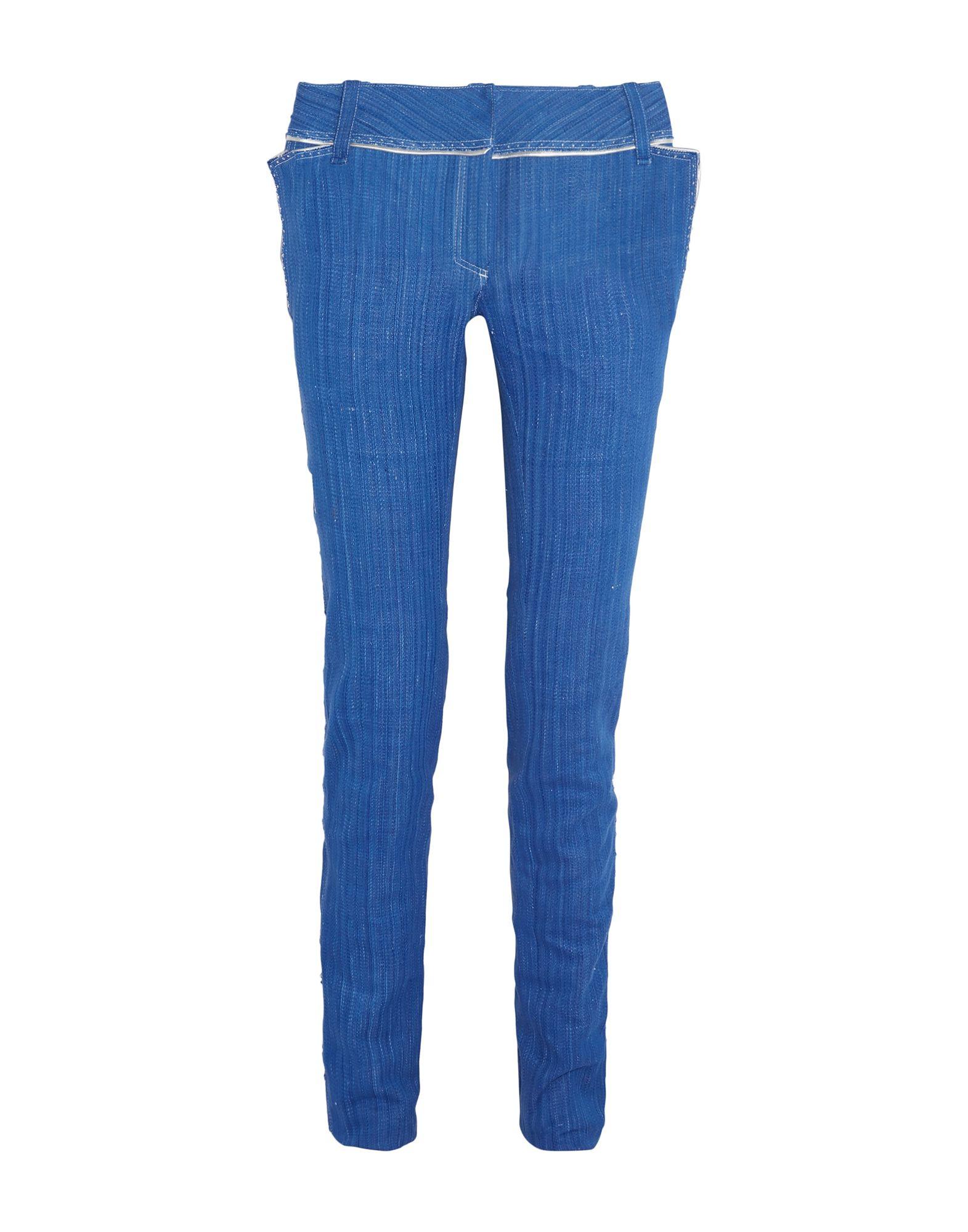 《セール開催中》RONALD VAN DER KEMP レディース ジーンズ ブルー 34 コットン 100% / 羊革(ラムスキン)