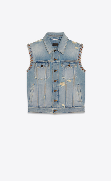 leather stitched denim jacket dirty sunrise blue