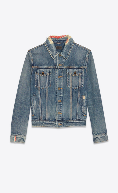 Bandana distressed denim jacket