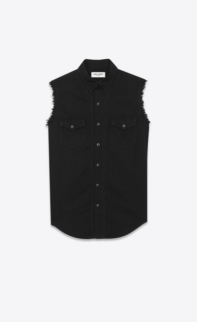 Destroyed denim sleeveless shirt