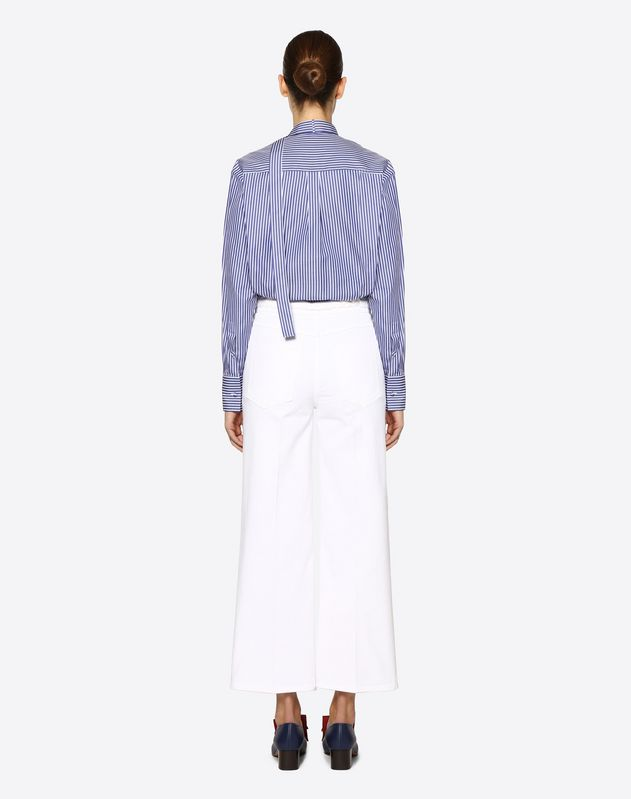 White Denim Jeans with Braided Belt
