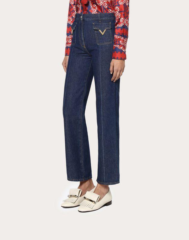 Jeans with Gold V Details