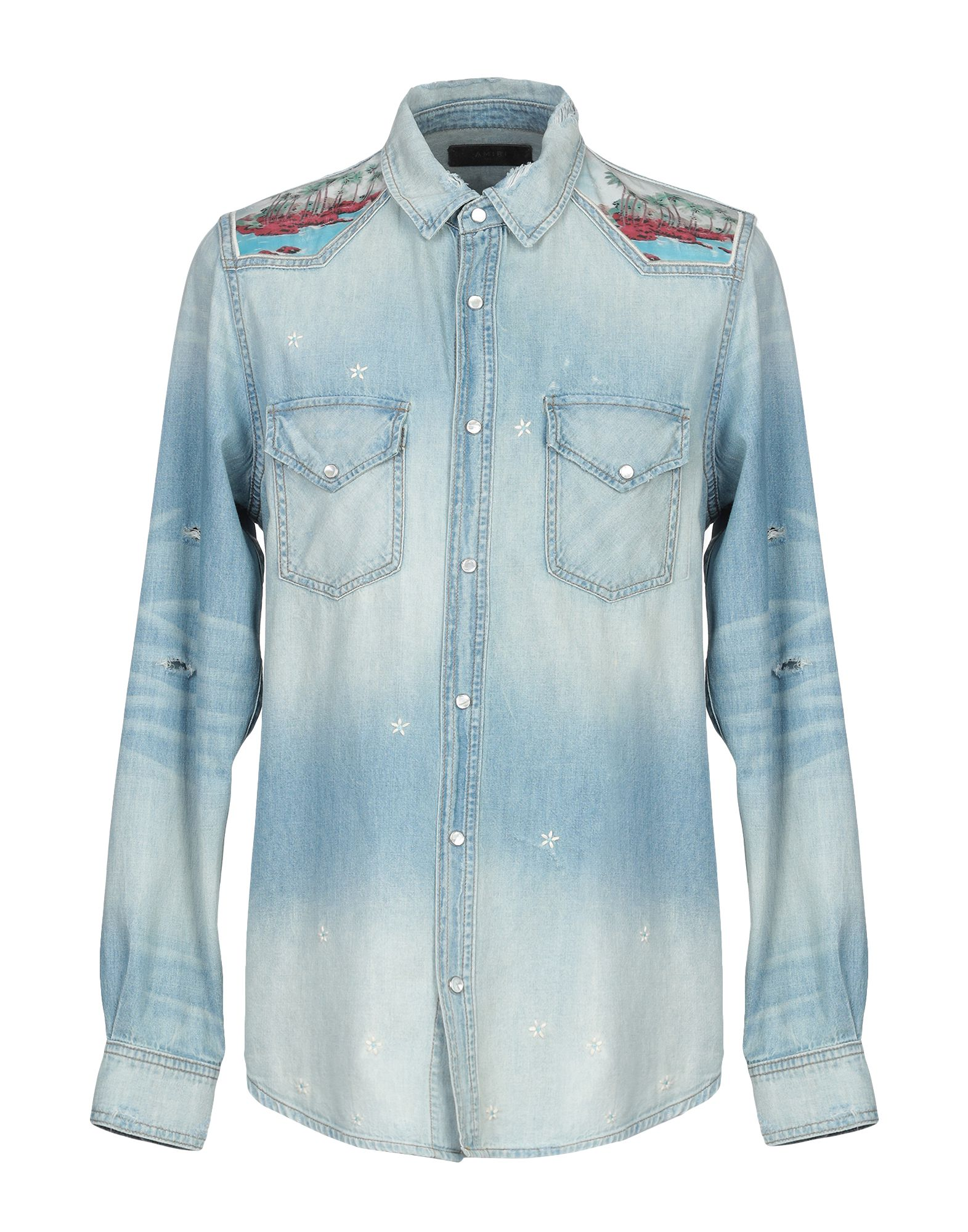 《送料無料》AMIRI メンズ デニムシャツ ブルー M コットン 100%