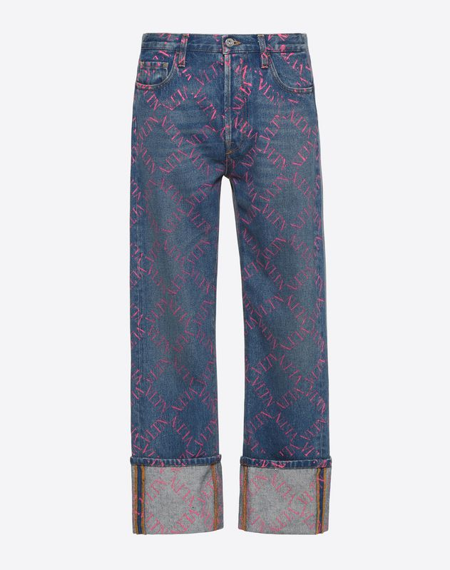 BAGGY FIT JEANS WITH VLTN GRID PRINT