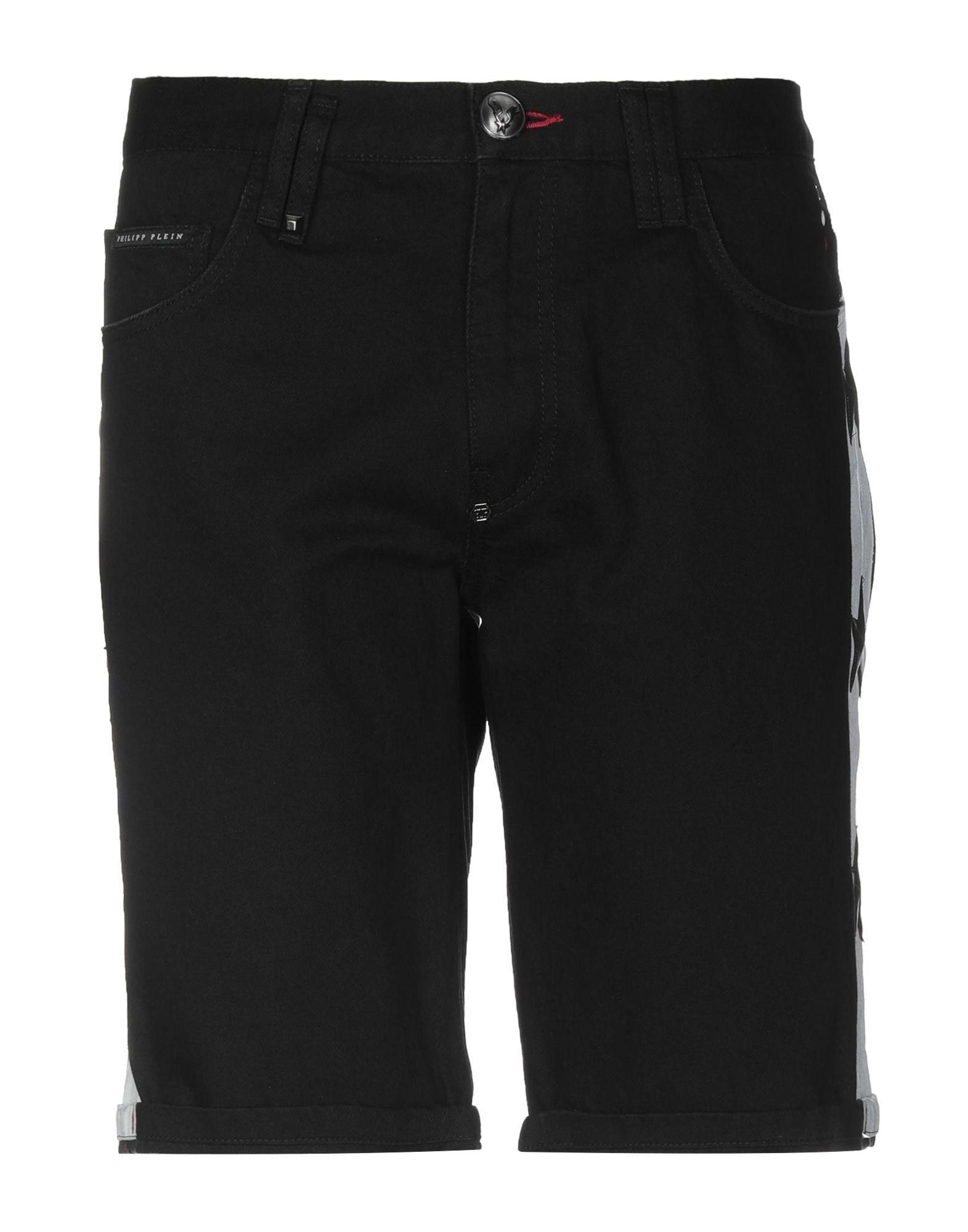 《セール開催中》PHILIPP PLEIN メンズ デニムバミューダパンツ ブラック 32 コットン 100% / レーヨン / ポリウレタン