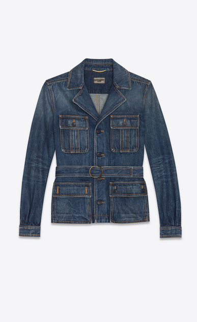 Safari jacket in indigo blue denim