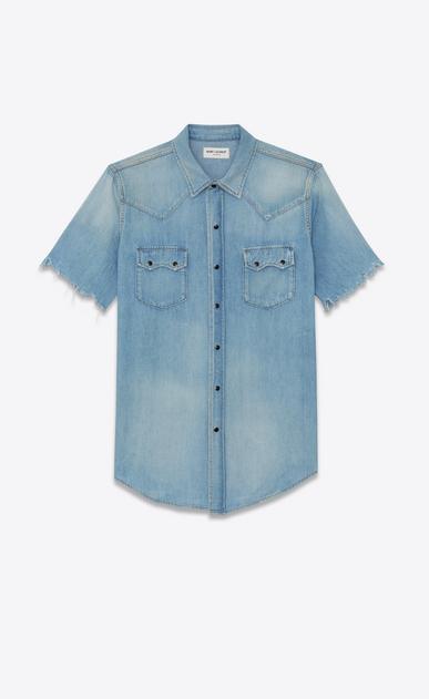 Western-style shirt in raw hem denim
