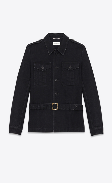 Safari jacket in worn black denim