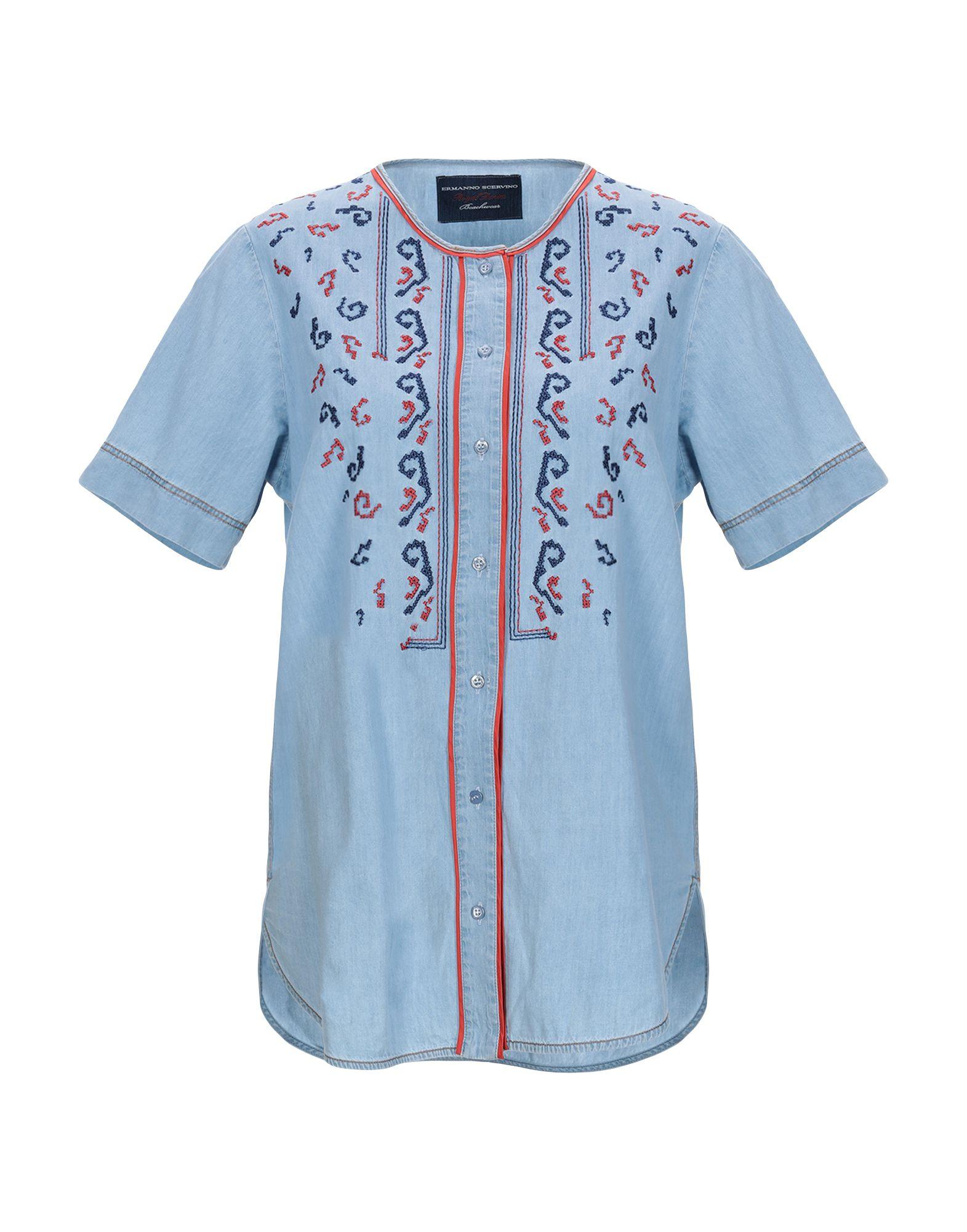 ERMANNO SCERVINO BEACHWEAR Джинсовая рубашка цена 2017