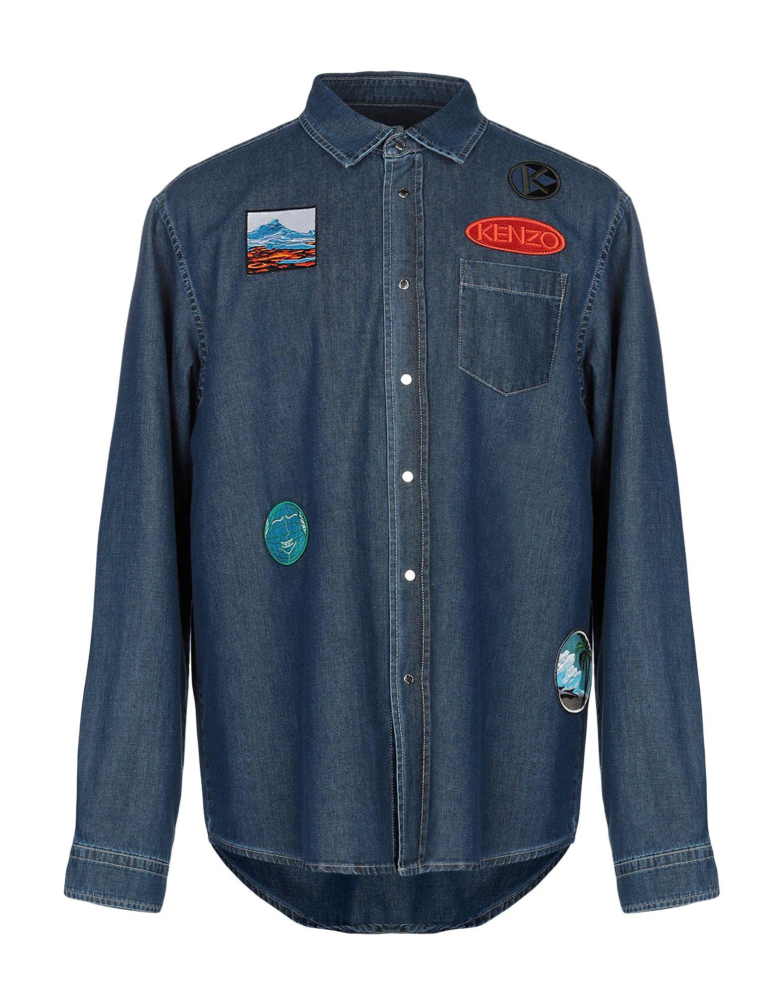 《送料無料》KENZO メンズ デニムシャツ ブルー XL コットン 100%