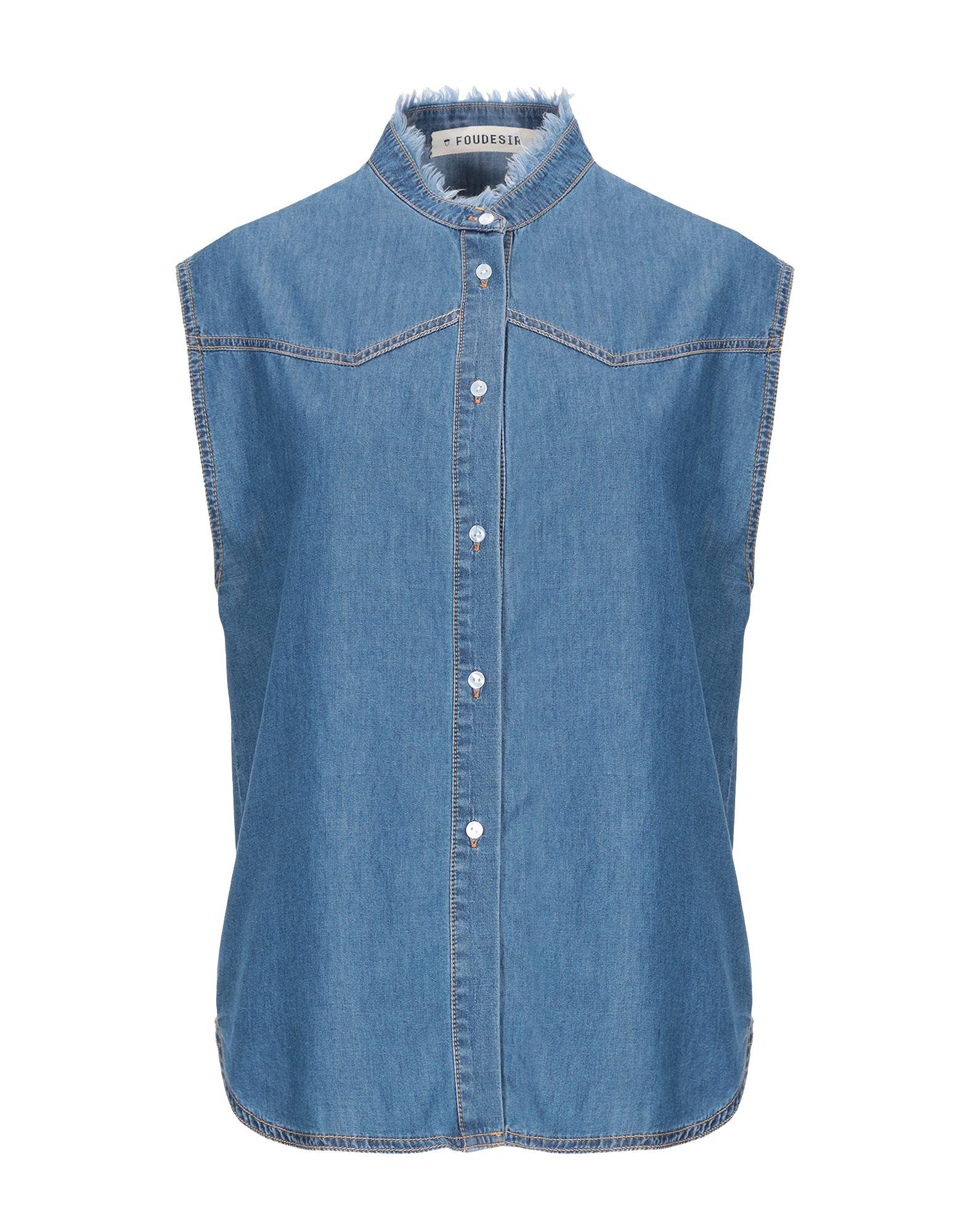 FOUDESIR Джинсовая рубашка джинсовая блузка без рукавов