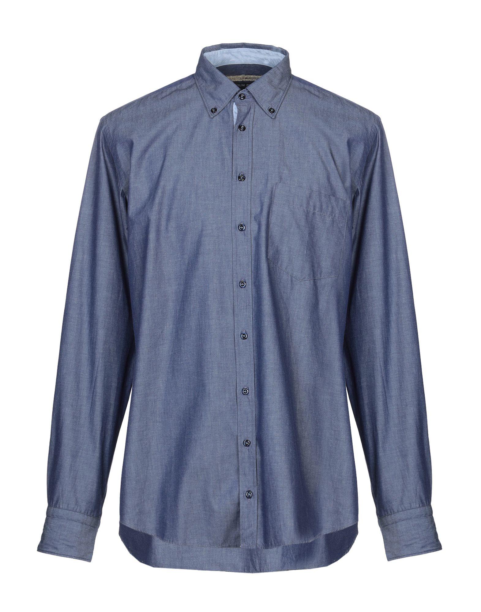 《送料無料》MAESTRAMI メンズ デニムシャツ ブルー 42 コットン 100%
