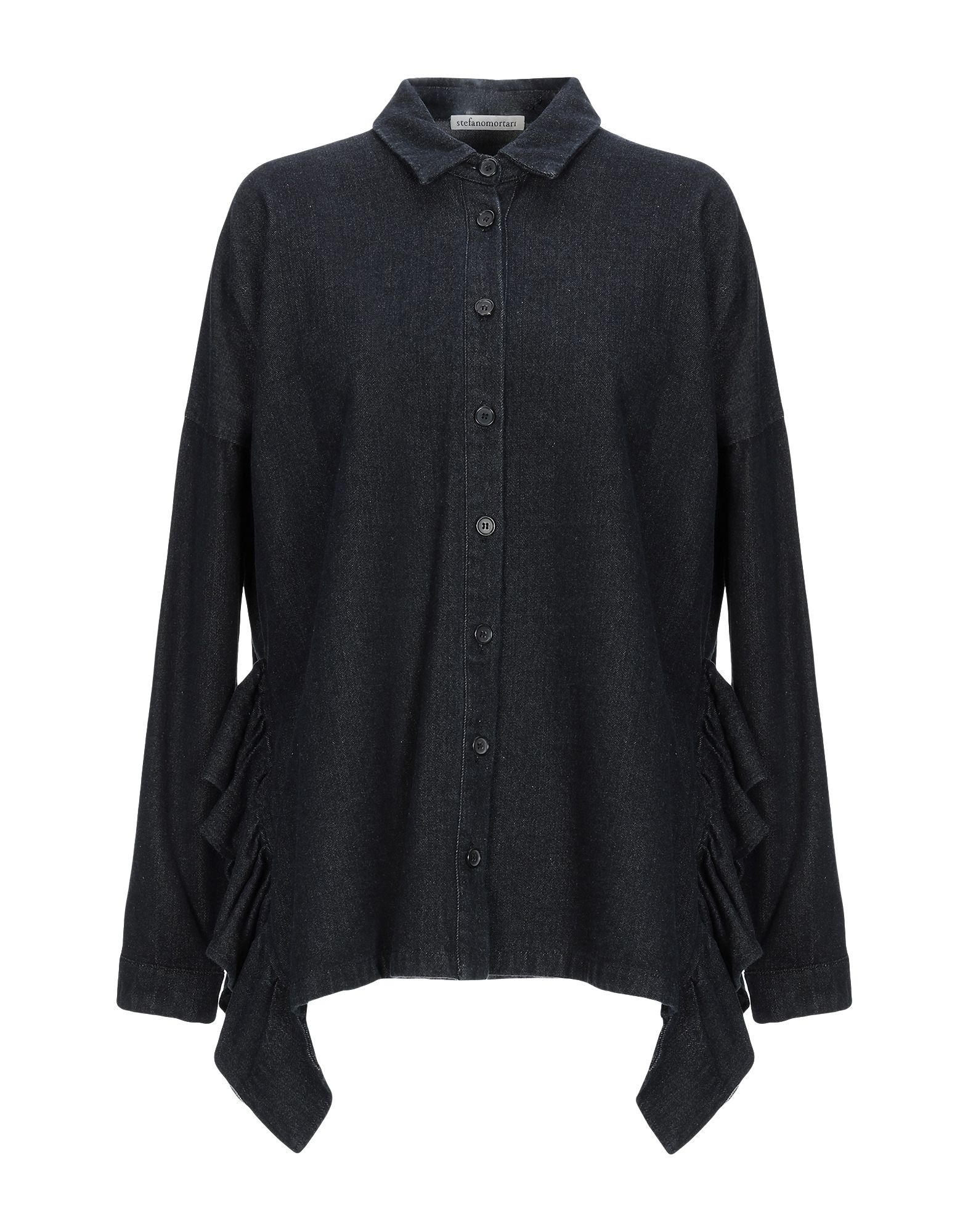 《送料無料》STEFANO MORTARI レディース デニムシャツ ブラック 38 100% コットン