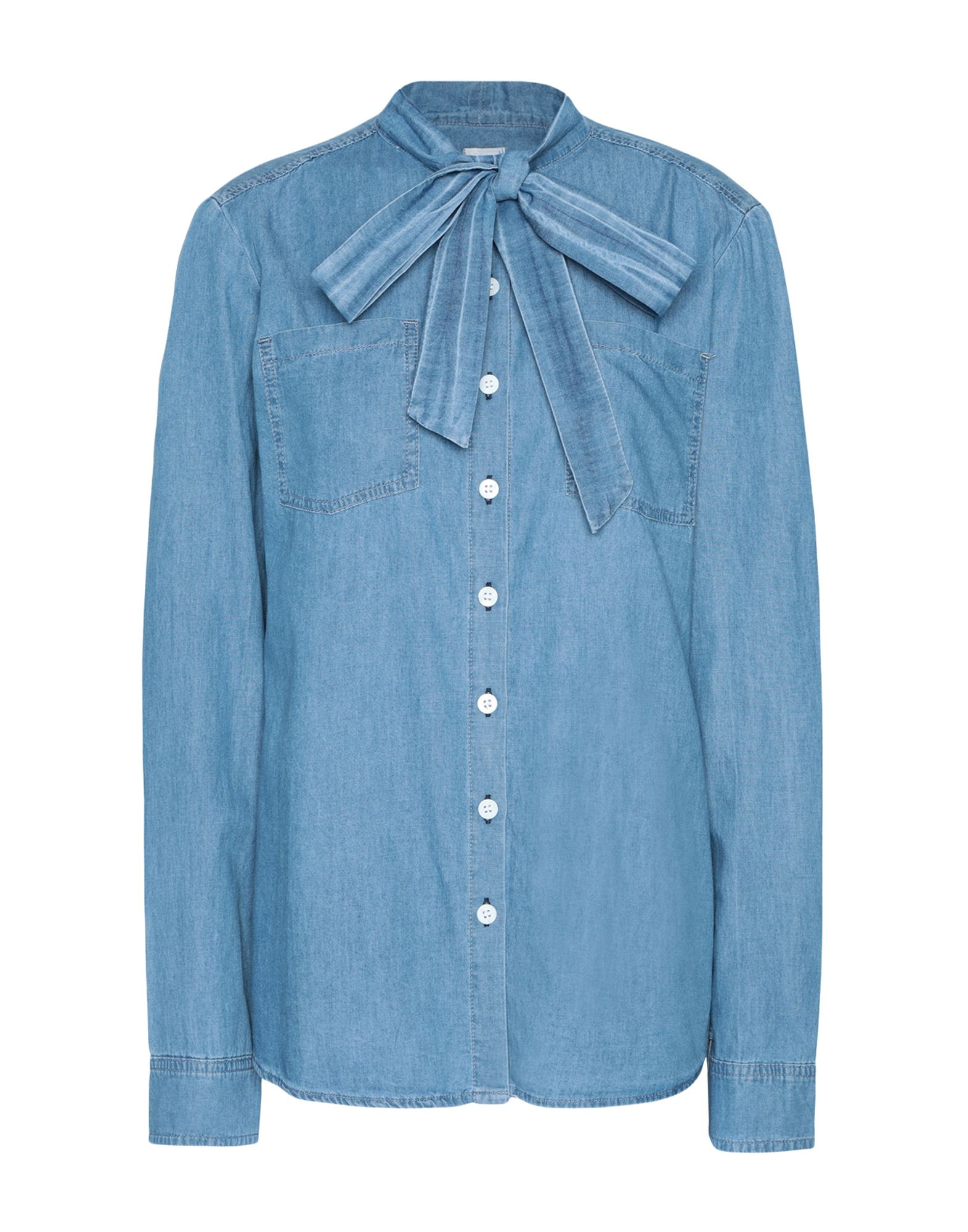8 by YOOX Джинсовая рубашка fu shen virtue основной цвет тяжелой воды мыть чистого хлопка тонкая джинсовая рубашка мужской ycf71013 синий 42 175 100